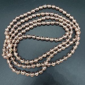 Vintage LONG Pink Flapper Glass Bead Necklace